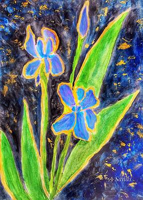 Painting - Iris Blues by Anne Sands