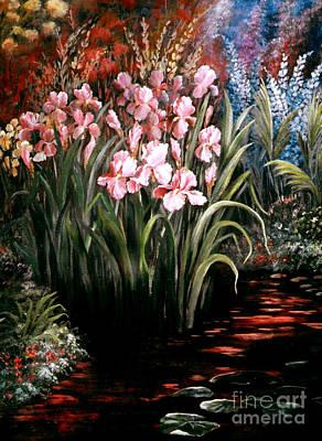 Iris By The Pond Art Print