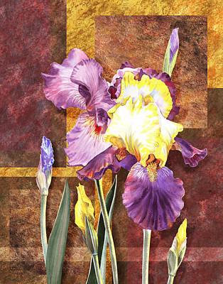 Painting - Iris Flower Decorative Art by Irina Sztukowski