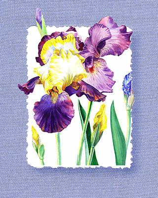 Baby Painting - Iris Flower On Baby Blue by Irina Sztukowski