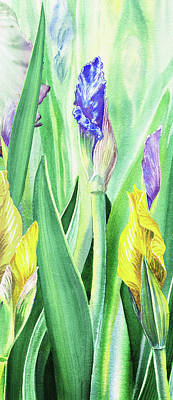 Painting - Iris Flowers Olympic Torches by Irina Sztukowski