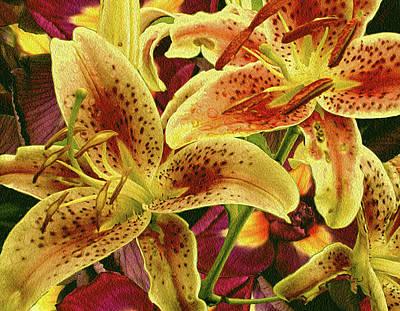 Lilies Mixed Media - Iris Grounded Lilies 5 by Lynda Lehmann