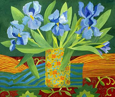 Blue And Green Painting - Iris by Jennifer Abbot