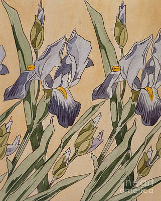 Of Irises Painting - Iris by Koloman Moser