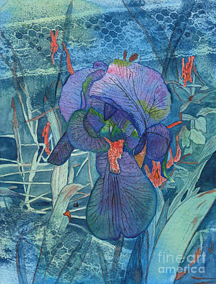 Painting - Iris Lace With Wild Columbine by Conni Schaftenaar