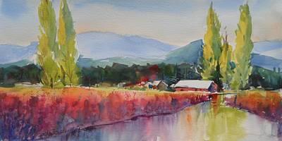Skagit Painting - Iris Poplars And Little Mountain by Sukey Watson