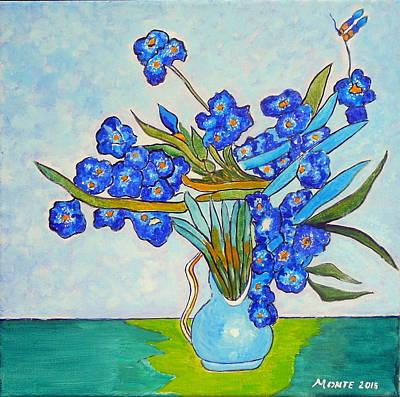 Inspired By Van Gogh Wall Art - Painting - Iris In Blue Vase by Robert Anthony Montesino