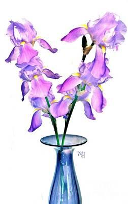 Art Print featuring the digital art Iris Still Life In A Vase by Marsha Heiken