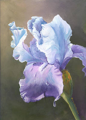 Art Print featuring the painting Iris Tears by Sherry Shipley