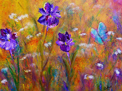 Print featuring the painting Iris Wildflowers And Butterfly by Claire Bull