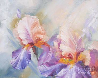 Gold Leave Painting - Irises 1 by J Davydova