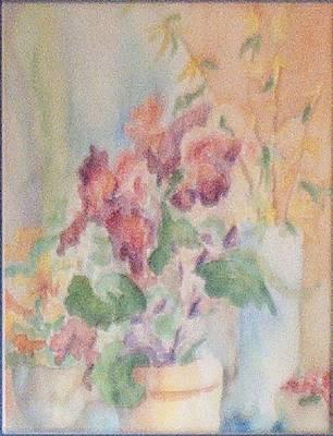 Irises And Company Art Print by Sheri Hubbard