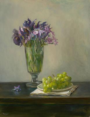 Painting - Irises And Grapes by Thimgan Hayden