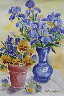 Painting - Irises And Petunias by Ingrid Dohm
