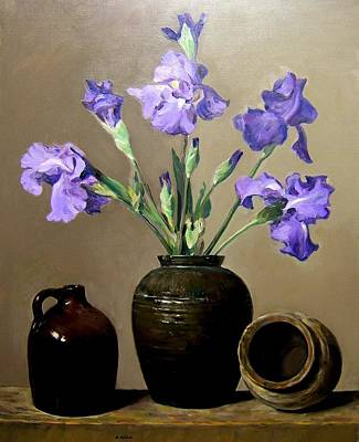 Painting - Irises And Pottery by Robert Holden