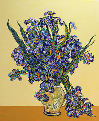 Collecting Flower Bouquets Painting - Irises  by Erika Pochybova