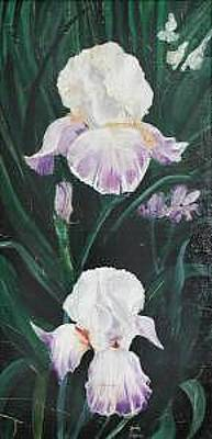 Painting - Irises In The Spot Light by Judy Loper