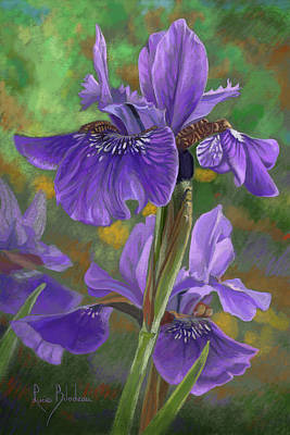Pastel Drawing Pastel - Irises by Lucie Bilodeau