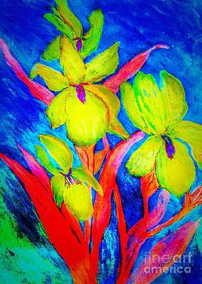 Painting - Irises On Blue by Anne Sands