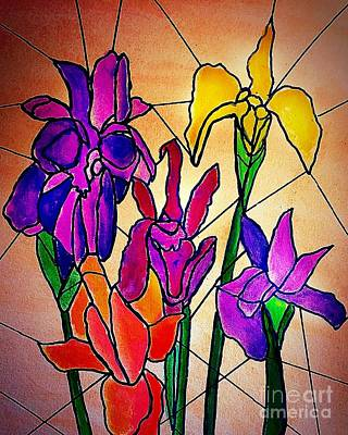 Painting - Irises Stained Glass Effect by Anne Sands