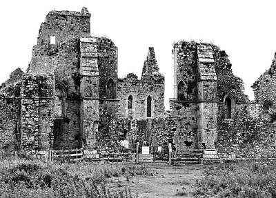 Photograph - Irish Athassel Priory Medieval Gothic Ruins In County Tipperary Ireland Black And White by Shawn O'Brien