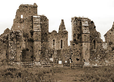 Photograph - Irish Athassel Priory Medieval Gothic Ruins In County Tipperary Ireland Sepia by Shawn O'Brien