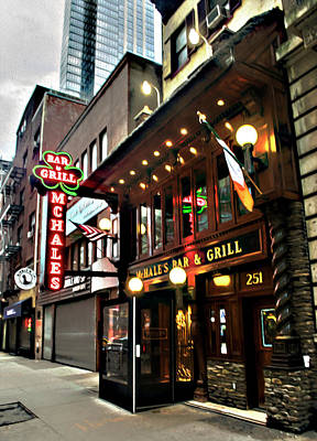 Digital Art - Irish Bar New York City 2017 by Timothy Lowry