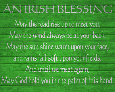 Blessings Mixed Media - Irish Blessing Green Barn Door by Dan Sproul