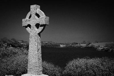 Irish Celtic Cross Overlooking Lake Art Print by Joe Fox