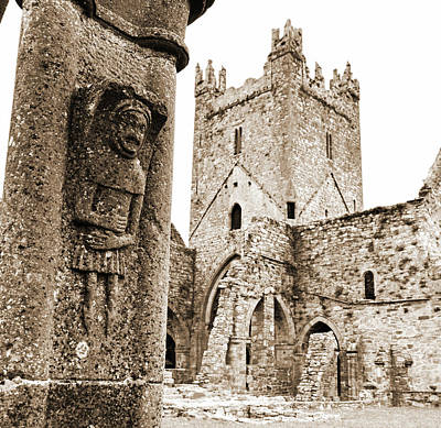 Europe Photograph - Irish Church Jerpoint Abbey Tower And Cloister Stone Carving County Kilkenny Ireland Sepia by Shawn O'Brien