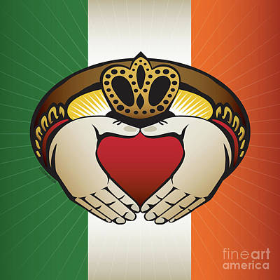 Digital Art - Irish Claddagh Square Crest  by Joe Barsin