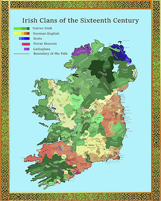 Drawing - Irish Clans Of The Sixteenth Century by Troy Caperton