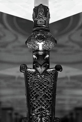 Photograph - Irish Cross Of Cong Base Macro Fine Craftsmanship Detail Black And White by Shawn O'Brien