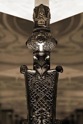 Photograph - Irish Cross Of Cong Base Macro Fine Craftsmanship Detail Sepia by Shawn O'Brien