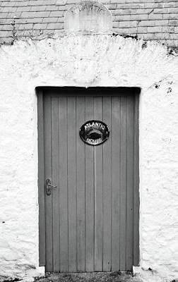 Photograph - Irish Door Entrance To Atlantic House Hotel Ballycotton County Cork Ireland Black And White by Shawn O'Brien