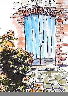French Door Drawing - Irish Door by Renee Chastant