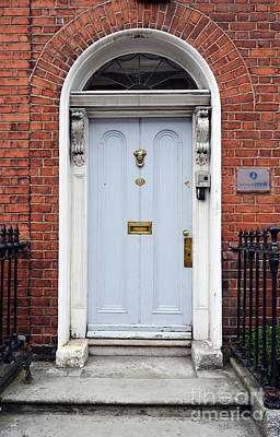 Photograph - Irish Doors Of Dublin Ireland Blue Traditional Stately Georgian Style by Shawn O'Brien
