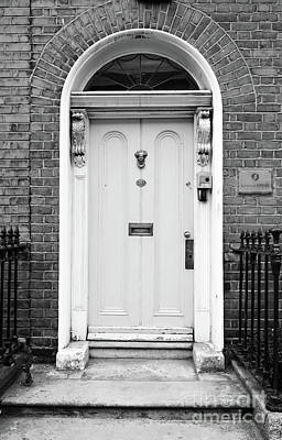 Photograph - Irish Doors Of Dublin Ireland Traditional Stately Georgian Style Black And White by Shawn O'Brien