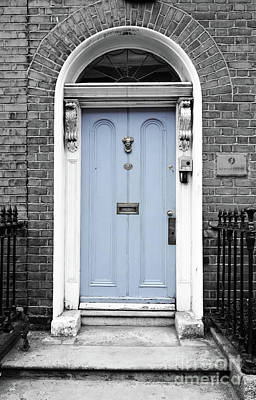 Photograph - Irish Doors Of Dublin Ireland Traditional Stately Georgian Style Blue Color Splash Black And White by Shawn O'Brien