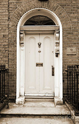 Photograph - Irish Doors Of Dublin Ireland Traditional Stately Georgian Style Sepia by Shawn O'Brien