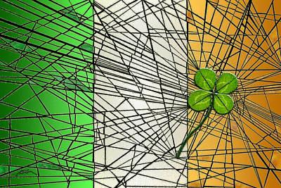 Irish Flag With Four-leaf Clover Print by Douglas Christian Larsen