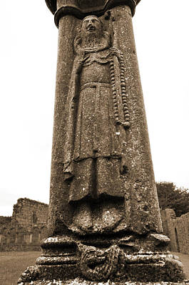 Celtic Photograph - Irish Jerpoint Abbey Cloister Column Bishop Stone Carving County Kilkenny Ireland Sepia by Shawn O'Brien