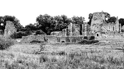 Photograph - Irish Medieval Ruins Of Athassel Priory In Rural County Tipperary Ireland Black And White by Shawn O'Brien