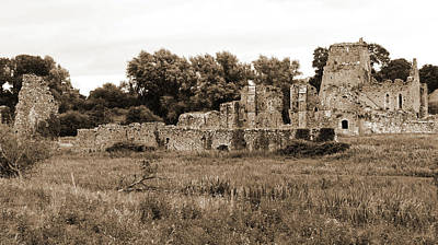 Photograph - Irish Medieval Ruins Of Athassel Priory In Rural County Tipperary Ireland Sepia by Shawn O'Brien