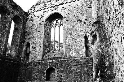 Photograph - Irish Medieval Ruins Of Athassel Priory Tipperary Profile Of Saint Joseph Statue Black And White by Shawn O'Brien