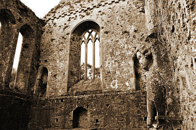 Photograph - Irish Medieval Ruins Of Athassel Priory Tipperary Profile Of Saint Joseph Statue Sepia by Shawn O'Brien