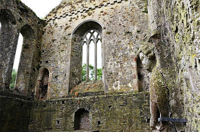 Photograph - Irish Medieval Ruins Of Athassel Priory Tipperary Profile Of Saint Joseph Statue by Shawn O'Brien