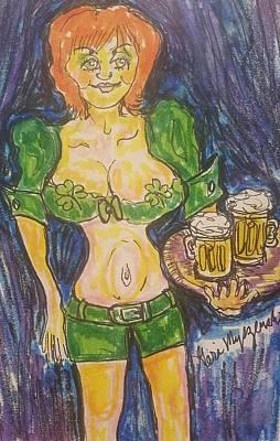 Beer Drawings Royalty Free Images - Irish Pub Waitress Royalty-Free Image by Geraldine Myszenski