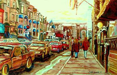 Montreal Neighborhoods Painting - Irish Pubs And Bistros Downtown Montreal by Carole Spandau