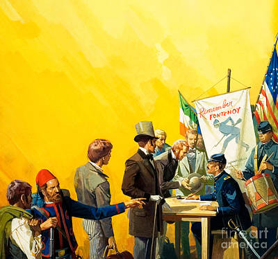 Desk Painting - Irish Recruitment For The American Civil War by Severino Baraldi